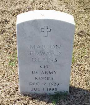 DUPINS (VETERAN KOR), MARION EDWARD - Pulaski County, Arkansas   MARION EDWARD DUPINS (VETERAN KOR) - Arkansas Gravestone Photos