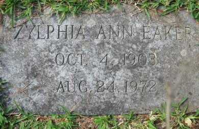 EAKER, ZYLPHIA ANN - Pulaski County, Arkansas | ZYLPHIA ANN EAKER - Arkansas Gravestone Photos