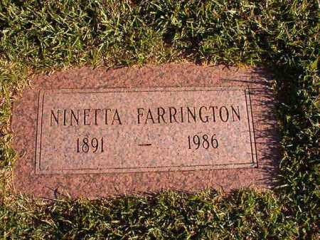FARRINGTON, NINETTA - Pulaski County, Arkansas | NINETTA FARRINGTON - Arkansas Gravestone Photos