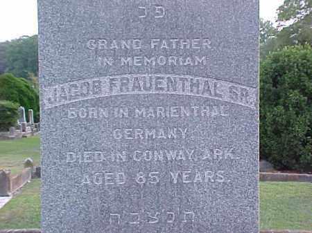 FRAUENTHAL, SR, JACOB - Pulaski County, Arkansas | JACOB FRAUENTHAL, SR - Arkansas Gravestone Photos