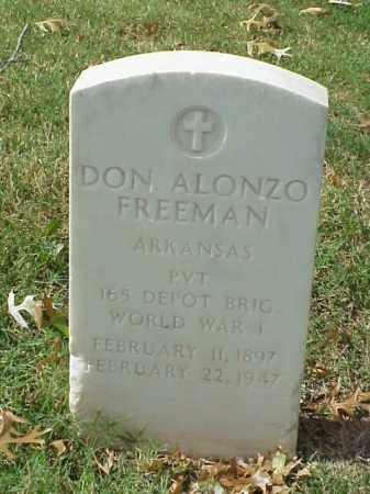 FREEMAN (VETERAN WWI), DON ALONZO - Pulaski County, Arkansas | DON ALONZO FREEMAN (VETERAN WWI) - Arkansas Gravestone Photos