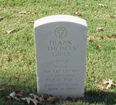 GIBBS (VETERAN WWI), FRANK THOMAS - Pulaski County, Arkansas | FRANK THOMAS GIBBS (VETERAN WWI) - Arkansas Gravestone Photos