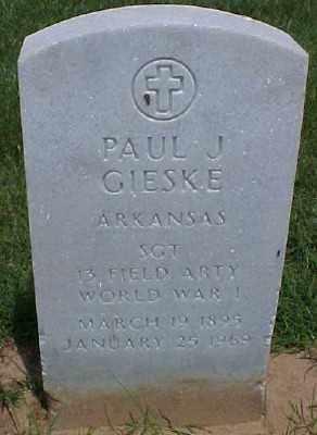 GIESKE (VETERAN WWI), PAUL J - Pulaski County, Arkansas | PAUL J GIESKE (VETERAN WWI) - Arkansas Gravestone Photos