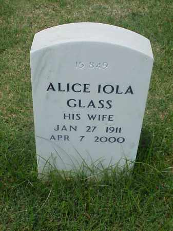 GLASS, ALICE IOLA - Pulaski County, Arkansas | ALICE IOLA GLASS - Arkansas Gravestone Photos