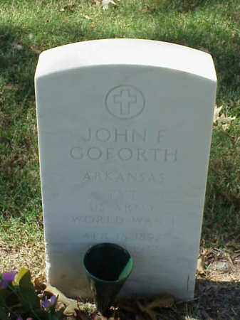 GOFORTH  (VETERAN WWII), JOHN F - Pulaski County, Arkansas | JOHN F GOFORTH  (VETERAN WWII) - Arkansas Gravestone Photos