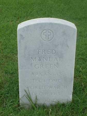 GREEN (VETERAN WWII), FRED MANUAL - Pulaski County, Arkansas | FRED MANUAL GREEN (VETERAN WWII) - Arkansas Gravestone Photos