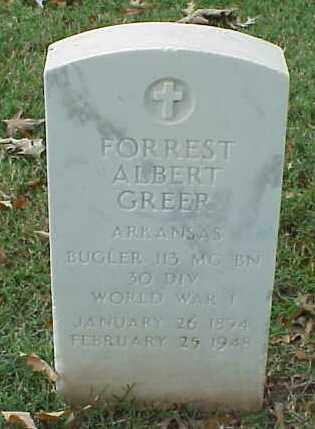 GREER  (VETERAN WWI), FORREST ALBERT - Pulaski County, Arkansas | FORREST ALBERT GREER  (VETERAN WWI) - Arkansas Gravestone Photos
