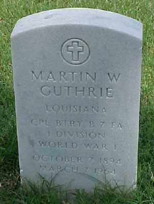 GUTHRIE (VETERAN WWI), MARTIN W - Pulaski County, Arkansas | MARTIN W GUTHRIE (VETERAN WWI) - Arkansas Gravestone Photos