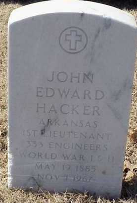 HACKER  (VETERAN WWI), JOHN EDWARD - Pulaski County, Arkansas | JOHN EDWARD HACKER  (VETERAN WWI) - Arkansas Gravestone Photos