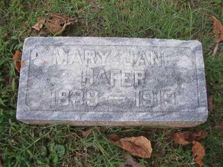 HAFER, MARY JANE - Pulaski County, Arkansas   MARY JANE HAFER - Arkansas Gravestone Photos