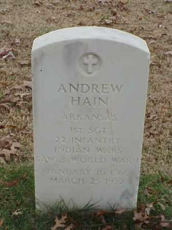 HAIN  (VETERAN 3 WARS), ANDREW - Pulaski County, Arkansas   ANDREW HAIN  (VETERAN 3 WARS) - Arkansas Gravestone Photos