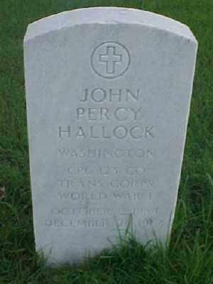 HALLOCK (VETERAN WWI), JOHN PERCY - Pulaski County, Arkansas | JOHN PERCY HALLOCK (VETERAN WWI) - Arkansas Gravestone Photos