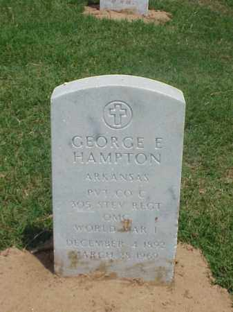HAMPTON (VETERAN WWI), GEORGE E - Pulaski County, Arkansas   GEORGE E HAMPTON (VETERAN WWI) - Arkansas Gravestone Photos
