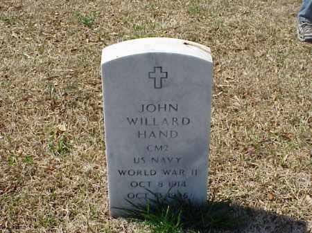 HAND (VETERAN WWII), JOHN WILLARD - Pulaski County, Arkansas | JOHN WILLARD HAND (VETERAN WWII) - Arkansas Gravestone Photos