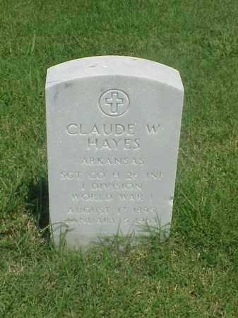 HAYES (VETERAN WWI), CLAUDE W - Pulaski County, Arkansas   CLAUDE W HAYES (VETERAN WWI) - Arkansas Gravestone Photos