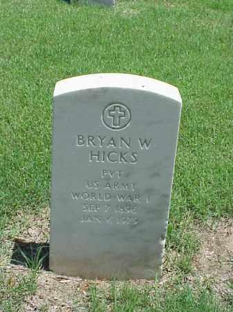 HICKS (VETERAN WWI), BRYAN W - Pulaski County, Arkansas | BRYAN W HICKS (VETERAN WWI) - Arkansas Gravestone Photos