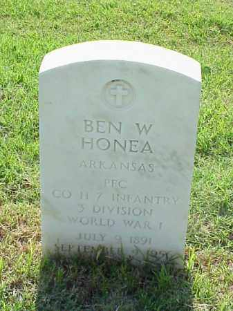 HONEA (VETERAN WWI), BEN W - Pulaski County, Arkansas | BEN W HONEA (VETERAN WWI) - Arkansas Gravestone Photos