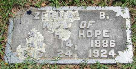 HOPE, ZERDIA B. - Pulaski County, Arkansas   ZERDIA B. HOPE - Arkansas Gravestone Photos