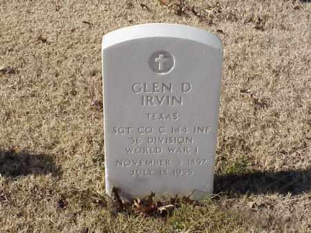 IRVIN  (VETERAN WWI), GLEN D - Pulaski County, Arkansas | GLEN D IRVIN  (VETERAN WWI) - Arkansas Gravestone Photos