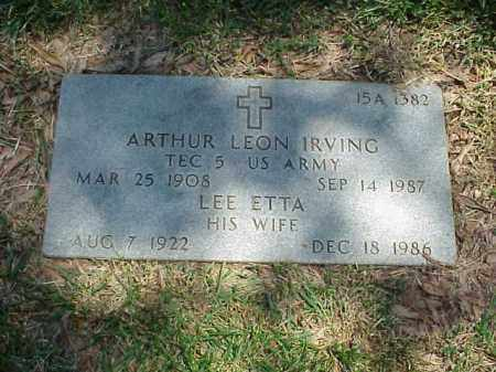 IRVING (VETERAN WWII), ARTHUR LEON - Pulaski County, Arkansas | ARTHUR LEON IRVING (VETERAN WWII) - Arkansas Gravestone Photos