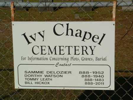 *IVY CHAPEL CEMETERY SIGN,  - Pulaski County, Arkansas    *IVY CHAPEL CEMETERY SIGN - Arkansas Gravestone Photos