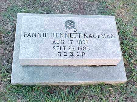 BENNETT KAUFMAN, FANNIE - Pulaski County, Arkansas | FANNIE BENNETT KAUFMAN - Arkansas Gravestone Photos