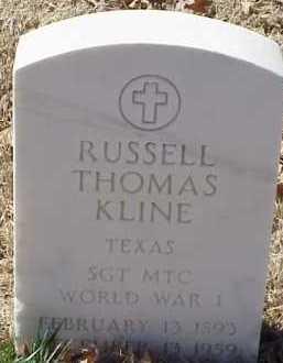 KLINE  (VETERAN WWI), RUSSELL THOMAS - Pulaski County, Arkansas | RUSSELL THOMAS KLINE  (VETERAN WWI) - Arkansas Gravestone Photos