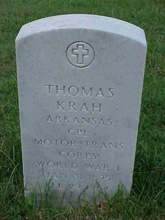 KRAH (VETERAN WWI), THOMAS - Pulaski County, Arkansas | THOMAS KRAH (VETERAN WWI) - Arkansas Gravestone Photos
