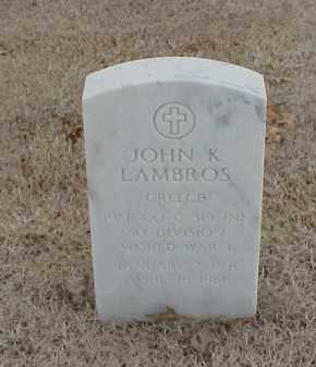 LAMBROS  (VETERAN WWI), JOHN K - Pulaski County, Arkansas | JOHN K LAMBROS  (VETERAN WWI) - Arkansas Gravestone Photos