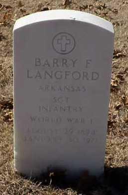 LANGFORD  (VETERAN WWI), BARRY F - Pulaski County, Arkansas | BARRY F LANGFORD  (VETERAN WWI) - Arkansas Gravestone Photos
