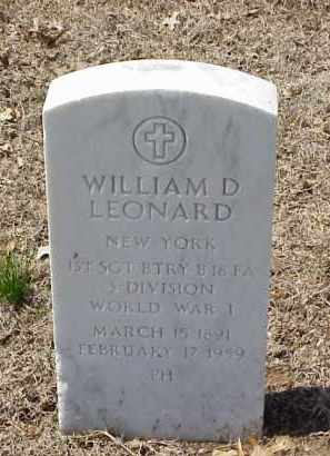 LEONARD  (VETERAN WWI), WILLIAM D - Pulaski County, Arkansas | WILLIAM D LEONARD  (VETERAN WWI) - Arkansas Gravestone Photos
