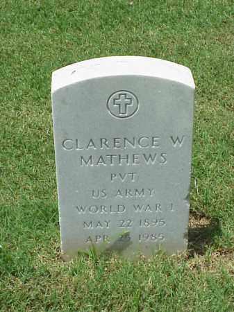 MATHEWS (VETERAN WWI), CLARENCE W - Pulaski County, Arkansas | CLARENCE W MATHEWS (VETERAN WWI) - Arkansas Gravestone Photos