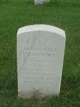 MATHEWS (VETERAN WWI), MARSHALL - Pulaski County, Arkansas | MARSHALL MATHEWS (VETERAN WWI) - Arkansas Gravestone Photos