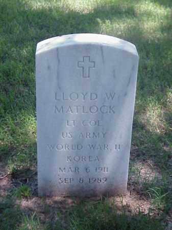 MATLOCK (VETERAN 2 WARS), LLOYD W - Pulaski County, Arkansas | LLOYD W MATLOCK (VETERAN 2 WARS) - Arkansas Gravestone Photos