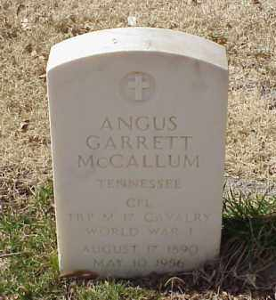 MCCALLUM (VETERAN WWI), ANGUS GARRETT - Pulaski County, Arkansas   ANGUS GARRETT MCCALLUM (VETERAN WWI) - Arkansas Gravestone Photos
