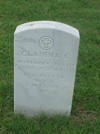 MCCURDY, CLAUDIA K - Pulaski County, Arkansas | CLAUDIA K MCCURDY - Arkansas Gravestone Photos