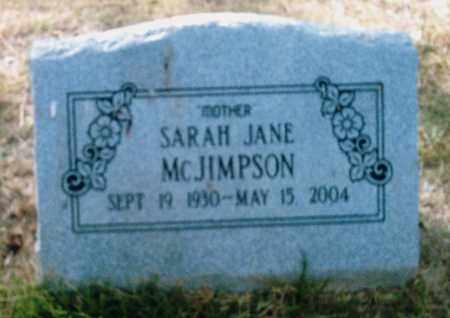 MCJIMPSON, SARAH JANE - Pulaski County, Arkansas | SARAH JANE MCJIMPSON - Arkansas Gravestone Photos