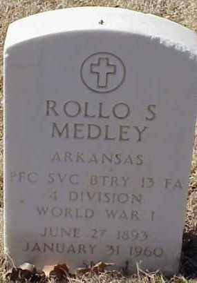 MEDLEY  (VETERAN WWI), ROLLO S - Pulaski County, Arkansas | ROLLO S MEDLEY  (VETERAN WWI) - Arkansas Gravestone Photos