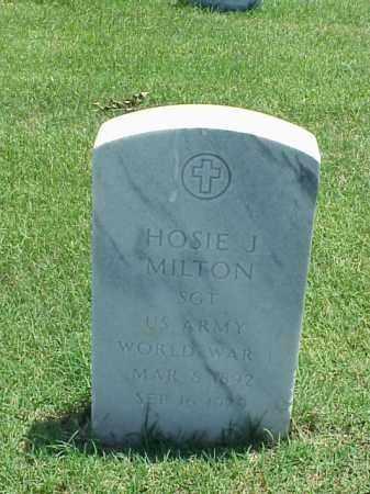 MILTON (VETERAN WWI), HOSIE J - Pulaski County, Arkansas   HOSIE J MILTON (VETERAN WWI) - Arkansas Gravestone Photos