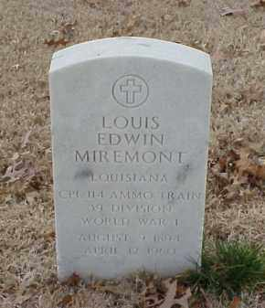 MIREMONT  (VETERAN WWI), LOUIS EDWIN - Pulaski County, Arkansas   LOUIS EDWIN MIREMONT  (VETERAN WWI) - Arkansas Gravestone Photos