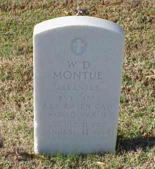 MONTUE (VETERAN WWII), W D - Pulaski County, Arkansas   W D MONTUE (VETERAN WWII) - Arkansas Gravestone Photos