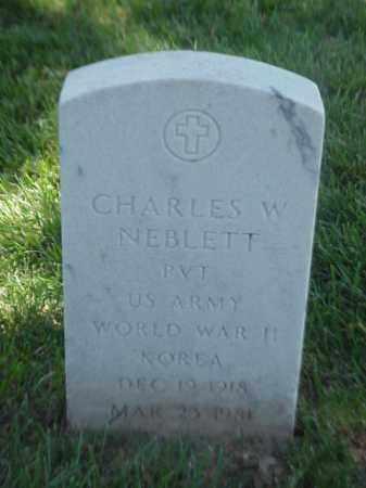 NEBLETT (VETERAN 2 WARS), CHARLES W - Pulaski County, Arkansas | CHARLES W NEBLETT (VETERAN 2 WARS) - Arkansas Gravestone Photos