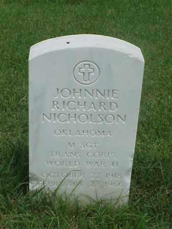 NICHOLSON (VETERAN WWII), JOHNNIE RICHARD - Pulaski County, Arkansas | JOHNNIE RICHARD NICHOLSON (VETERAN WWII) - Arkansas Gravestone Photos