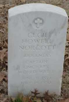NORCOTT  (VETERAN WWI), CECIL HOWELL - Pulaski County, Arkansas   CECIL HOWELL NORCOTT  (VETERAN WWI) - Arkansas Gravestone Photos