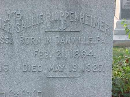 OPPENHEIMER, SALLIE (CLOSE UP) - Pulaski County, Arkansas | SALLIE (CLOSE UP) OPPENHEIMER - Arkansas Gravestone Photos