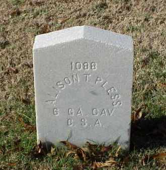 PLESS (VETERAN CSA), ALISON T - Pulaski County, Arkansas | ALISON T PLESS (VETERAN CSA) - Arkansas Gravestone Photos