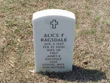 RAGSDALE, ALICE F - Pulaski County, Arkansas | ALICE F RAGSDALE - Arkansas Gravestone Photos