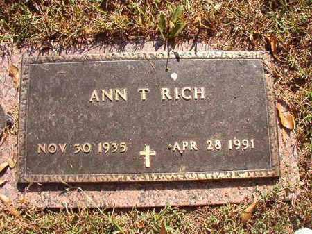 RICH, ANN T - Pulaski County, Arkansas | ANN T RICH - Arkansas Gravestone Photos