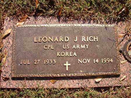 RICH (VETERAN KOR), LEONARD J - Pulaski County, Arkansas | LEONARD J RICH (VETERAN KOR) - Arkansas Gravestone Photos