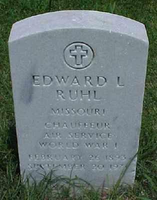 RUHL (VETERAN WWI), EDWARD L - Pulaski County, Arkansas | EDWARD L RUHL (VETERAN WWI) - Arkansas Gravestone Photos